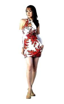 Chic Kort Hvid Cheongsam Asiatiske Kjoler