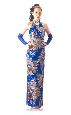 Elegant Blå Cheongsam Asiatiske Kjoler