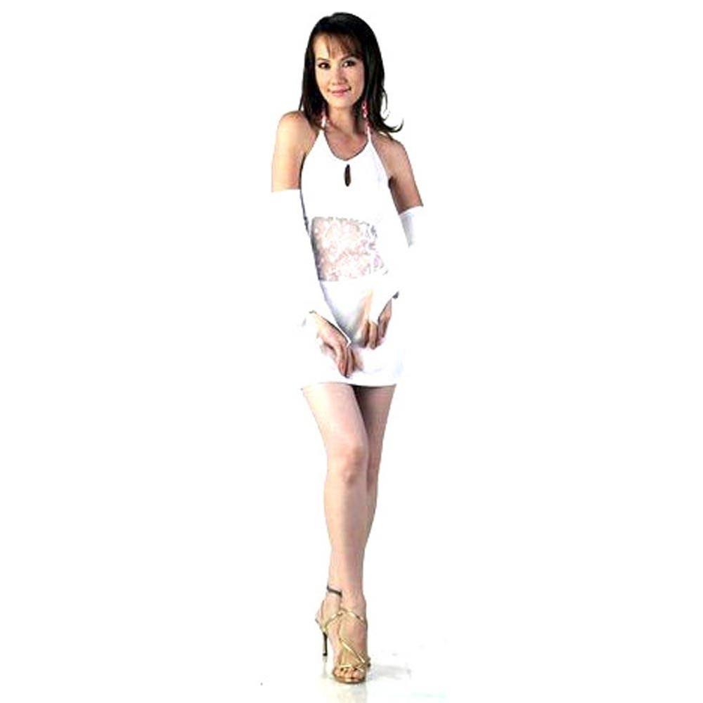 50940a7b Elegant Kort Hvid Kjole - Korte Kjoler