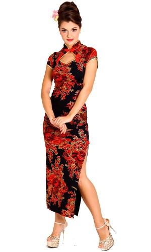 Forførende Sort Kinesisk Kjole Asiatiske Kjoler