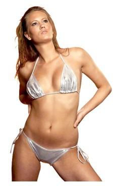 Glitrende Sølv Bikini Bikinisæt