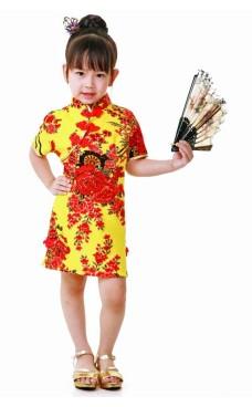 Gul Cheongsam Børnekjole Asiatiske Børnekjoler