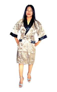 Guld Silke Morgenkåbe Unisex Kimonoer