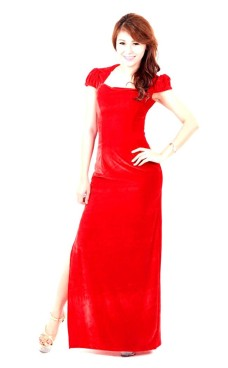 Herlig Rød Selskabskjole Lange Kjoler