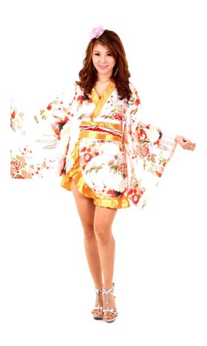 Hvid Asiatisk Kimono Kimono Kjoler