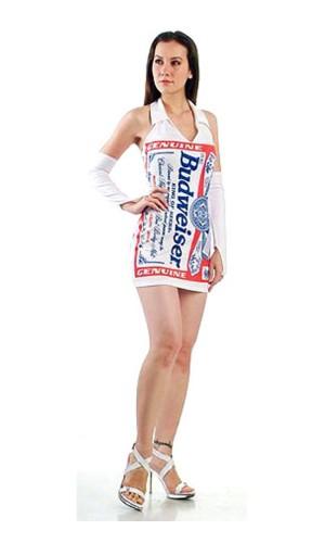 Hvid Budweiser Kjole Korte Kjoler