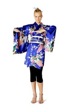 Kort Blå Kimono Kjole