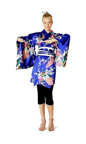 Kort Blå Kimono Kjole Kimono Kjoler