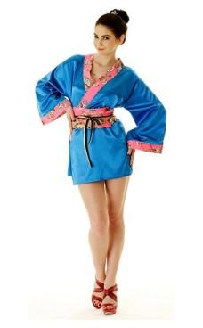 Kort Blå Yukata Kjole