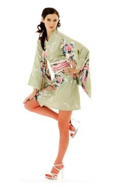 Kort Grøn Kimono Kjole Kimono Kjoler