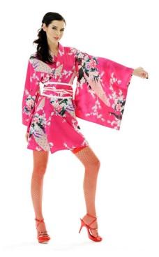 Kort Lyserød Kimono Kjole Kimono Kjoler