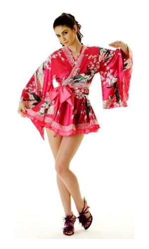 Kort Lyserød Yukata Kjole Kimono Kjoler