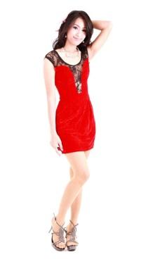 Kort Rød Blondekjole