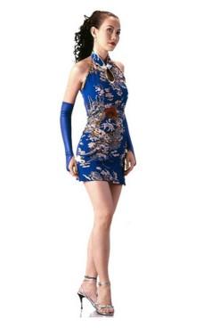 Kort Skøn Blå Cheongsam Asiatiske Kjoler