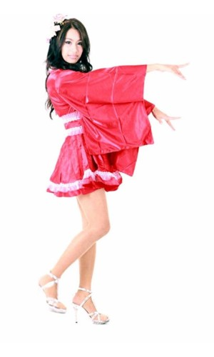 Lange T-muffe Red Kimono Kimono Kjoler