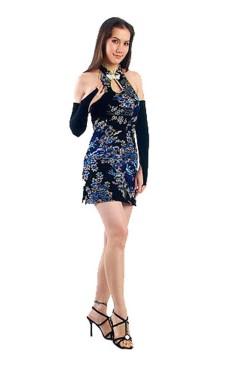 Luksuriøs Kort Sort Cheongsam Asiatiske Kjoler