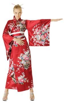Rød Kimono Kjole