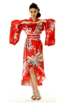 Rød Yukata Kjole Kimono Kjoler