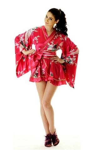 Rosa Yukata Minikjole Kimono Kjoler
