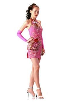 Sart Kort Rosa Cheongsam Asiatiske Kjoler