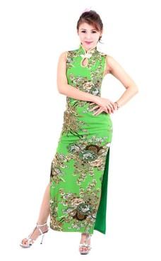 Sexede Grøn Cheongsam Asiatiske Kjoler