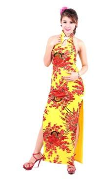 Sexede Gul Cheongsam Asiatiske Kjoler