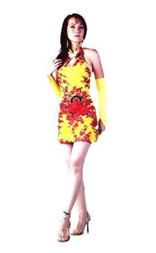 Sexede Kort Gul Cheongsam Asiatiske Kjoler