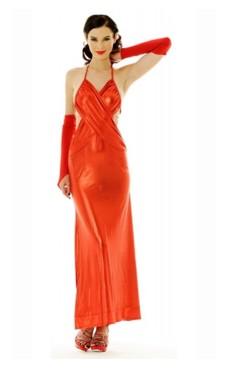 Skinnende Rød Kjole Lange Kjoler