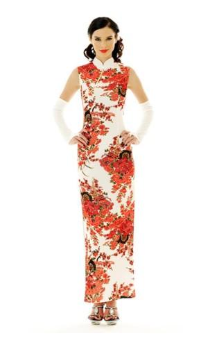 Skøn Hvid Cheongsam Asiatiske Kjoler