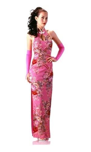 Skøn Rosa Cheongsam Asiatiske Kjoler