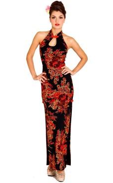 Skøn Sort Cheongsam Asiatiske Kjoler