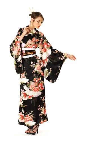 Sort Kimono Kjole Kimono Kjoler