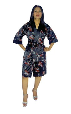 Sort Silke Morgenkåbe Unisex Kimonoer