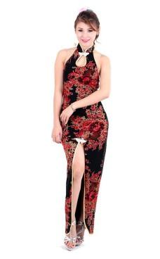 Stilfuld Sort Asian Kjole