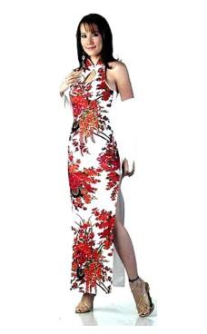 Trendy Hvid Cheongsam Asiatiske Kjoler